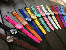 Fashion Women Geneva Silicone Rubber Band Jelly Sports Analog Quartz Wrist Watch