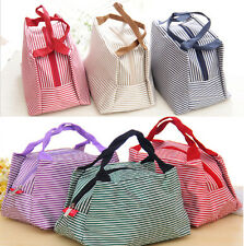 New Stripe Tote Storage Bag Insulated Picnic Lunch Bento Box Bag