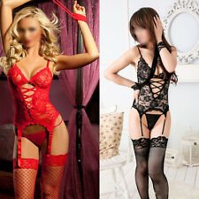 Women's Black Red Sexy Erotic Lace Lingerie Underwear Sleepwear Nightwear New