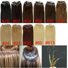 """Remy Human Hair Extensions Easy Loop Micro Rings Beads 100S/200S 18""""20""""22"""" 100%"""