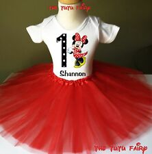 Minnie Mouse Birthday Girl Red Tutu Outfit Set Name Age Personalized Shirt 1-7