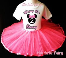 Minnie Mouse Birthday Shirt & pink tutu set outfit name age 2nd 3rd 4th 5th 6 7