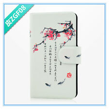 2014 new sale Chinese culture plum blossom fish PU leather flip case for HTC