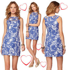 $188 Lilly Pulitzer Lindy Spectrum Blue Tide Pools Beaded Neck Shift Dress