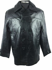 Mens Genuine Leather Pea Coat Navy Style Military Jacket Fur Lining BLACK M L