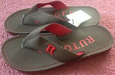 Rutgers Scarlet Knights Zori Flip-Flops Sandals Brown Canvas Football NWT
