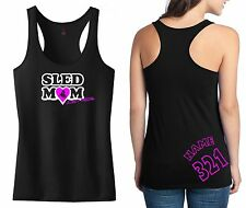 SLED MOM RACERBACK TANK SHIRT JUST RIDE SNOW MOBILE SKI DOO ARCTIC CAT YAMAHA