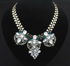 New Design Bling Colored Crystal Gorgeous Flower Thick Chain Bib Chunky Necklace