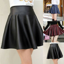 New Women Faux Leather Pleated Mini Skirt High Waist Flared Skater Short Dress