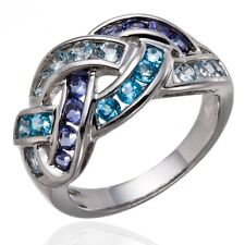 Aquamarine, Swiss Blue Topaz and Iolite Gemstone 925 Sterling Silver Woven Ring