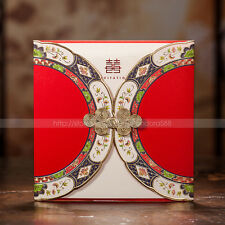 Pretty Wedding Invitations Cards With Chinese Button Knot And Envelopes, Seals