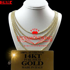 MEN'S WOMEN'S 14K AUTHENTIC SOLID YELLOW GOLD ROPE CHAIN NECKLACE 2MM 16~30 INCH