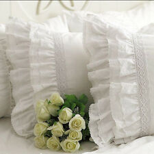 One Piece Shabby Vintage White Embroidery Lace Ruffle Matching Pillowcase 1122