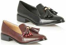 Womens Ladies Low Heel Flat Tassel Patent Shoes Vintage Office Loafer Shiny Size