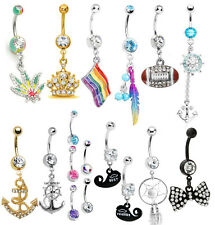 14G Belly Button Navel Bar Ring Body Piercing CZ Jewelry Barbell Sexy Art Dangle