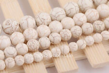 "Wholesale 15""  White Howlite Turquoise Gemstone Round Beads Jewelry 8/10/12/14mm"