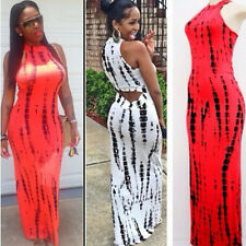 Sex Hollow out Watermelon Stripes Nightclub Prom Party Cocktail Long Maxi Dress