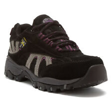 McRAE Womens Met Guard Lace Up Steel Toe Hiker Shoes Black/Gray Suede MR47300