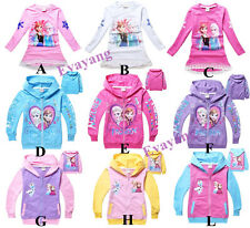Girl kid Frozen Elsa Anna Olaf Long Sleeve T-shirt Hooded Fall Sweatshirt Jacket