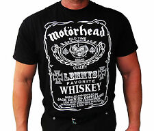 MOTÖRHEAD MOTORHEAD TRIBUTE LEMMYS FAVORITE WHISKEY IRON CROSS SPADE BIKER SHIRT
