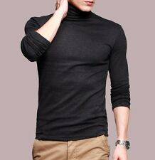 Mature Mens T-shirt Basic Tee Long Sleeve Turtleneck Fitted  High Elasticity M L