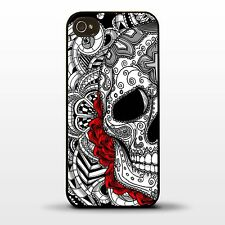 Cover for Iphone 5 5S Sugar skull tattoo graphic rose flower art cool phone case