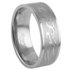 Stainless Steel Wavy Tattoo Tribal Design Promise Love Romantic Ring Sizes 9-13