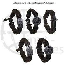 BLACK LEATHER BRACELET BAND with Skull Yin Yang Cross Cannabis Peace