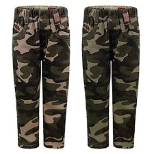 KIDS CAMOUFLAGE PRINT TROUSERS JEANS BOYS ARMY PANTS MILITARY CARGO COMBAT 3-14