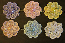 Baby Child ANTIQUE Lace FLOWER GIRL Vintage Barrette HAIR Clip Wedding Bobby Pin