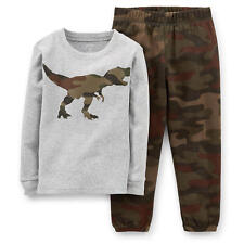 Carter's Boys 2 Piece Camo Dinosaur Long Sleeve Cotton Top & Camo Print Fleece P