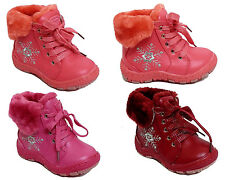 Girs Childrens Kids Lace Up Zip Flat Pumps Winter Full Fur Ankle Boots Shoe Size