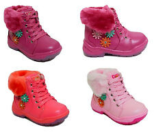 Girs Childrens Kids Lace Up Zip Flat Pumps Winter Casual Ankle Boots Shoe Size