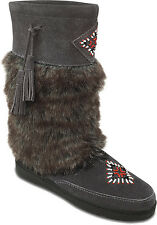 Women's Shoes Minnetonka Mukluk High Grey 3781 Slip On AUTHENTIC