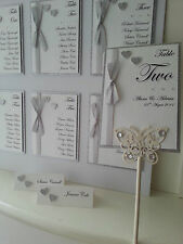 Elegance Wedding Table Plan Numbers Place Names, glitter & ribbon *many colours