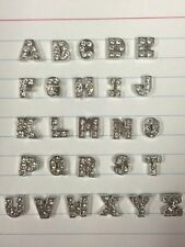 Silver Letters With Gems Floating Locket Charms