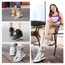 New trendsetter women's Bright leather shoes wedge heel Casual sports Shoes