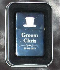 Personalised Male Wedding Gifts-Engraved Silver Lighter - Usher Best Man Father