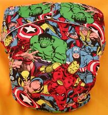 AIO (All In One) Adult Baby Reusable Cloth Diaper S,M,L,XL Super Heroes