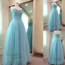 A-line Long Beaded Formal Bridesmaid Dresses Evening Party Prom Dress Size 6-16