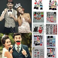 44pcs Photo Mustache Booth Props Hat Lips On A Stick Cosplay Wedding Party DIY