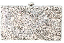 Crystal clutch metal rectangle box evening bag silver white AB using Swarovski