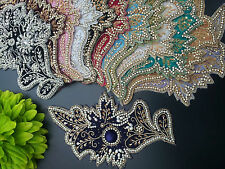 VELVET EMBROIDERED RHINESTONE PATCH MOTIF LACE TRIMMING STITCH ON OR GLUE ON