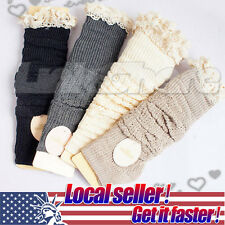 Crochet Lace Trim Cotton Knit Leg Warmers Boot Socks Knee High Off White Khaki