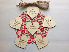 Merry Christmas Large Heart Gift Tags / Shabby Chic