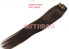 #2 Dark Brown CLIP IN REMY HAIR EXTENSIONS 100% REAL HUMAN HAIR Clip On Cheap