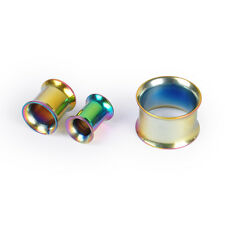 1pc Colorful Stainless Steel Double Flare Ear Stretcher Flesh Tunnel Plugs