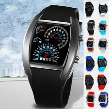 Mens Womens RPM Turbo Blue&White Flash LED Sports Car Meter Calendar Dial Watch