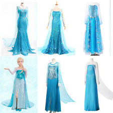 Womens Frozen Queen Elsa Costume Cosplay Adult Tulle Evening Elsa Dress S-XXXL