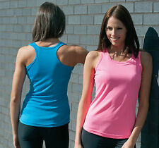 RUNNING/TRAINING-WOMENS VEST-ALL SPORTS-wick away sweat material-IN 12 COLOURS